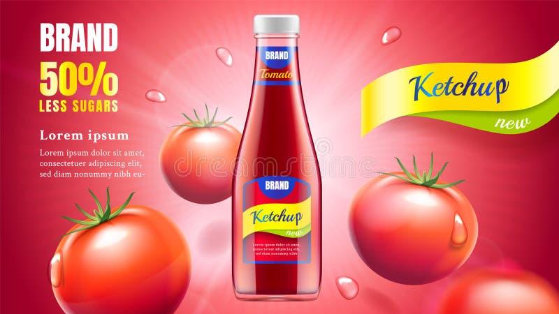 De advertentie van de tomatenketchup vector illustratie