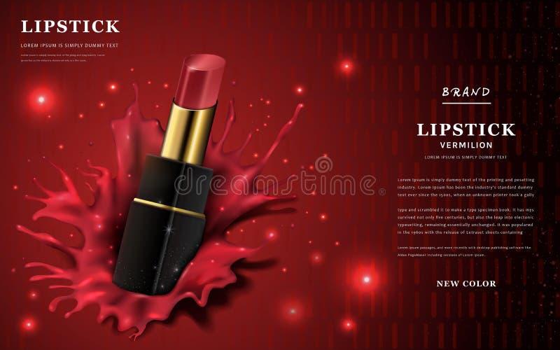 De advertenties van de glamourlippenstift vector illustratie