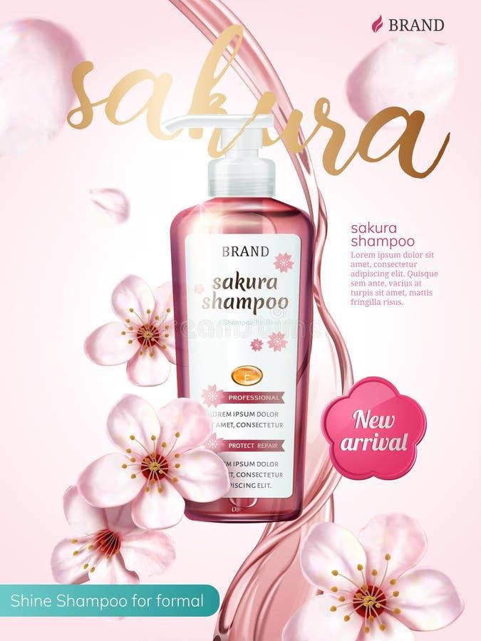 De advertenties van het shampooproduct stock illustratie