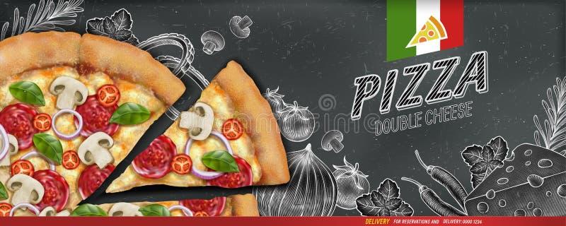 De advertenties van de pizzabanner royalty-vrije illustratie