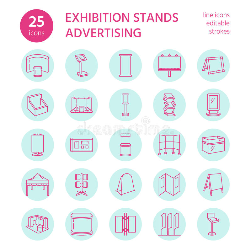De adverterende tribunes van de tentoonstellingsbanner, de pictogrammen van de vertoningslijn De brochurehouders, duiken raad, bo royalty-vrije illustratie