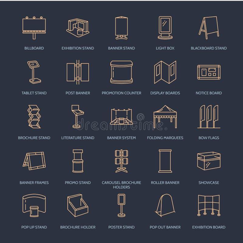 De adverterende tribunes van de tentoonstellingsbanner, de pictogrammen van de vertoningslijn De brochurehouders, duiken raad, bo vector illustratie