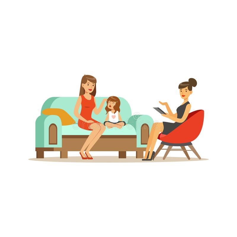 De adviserende vrouw van de familiepsycholoog en schreeuwend meisje, psycholoog die zitting met patiënten vectorillustratie hebbe royalty-vrije illustratie