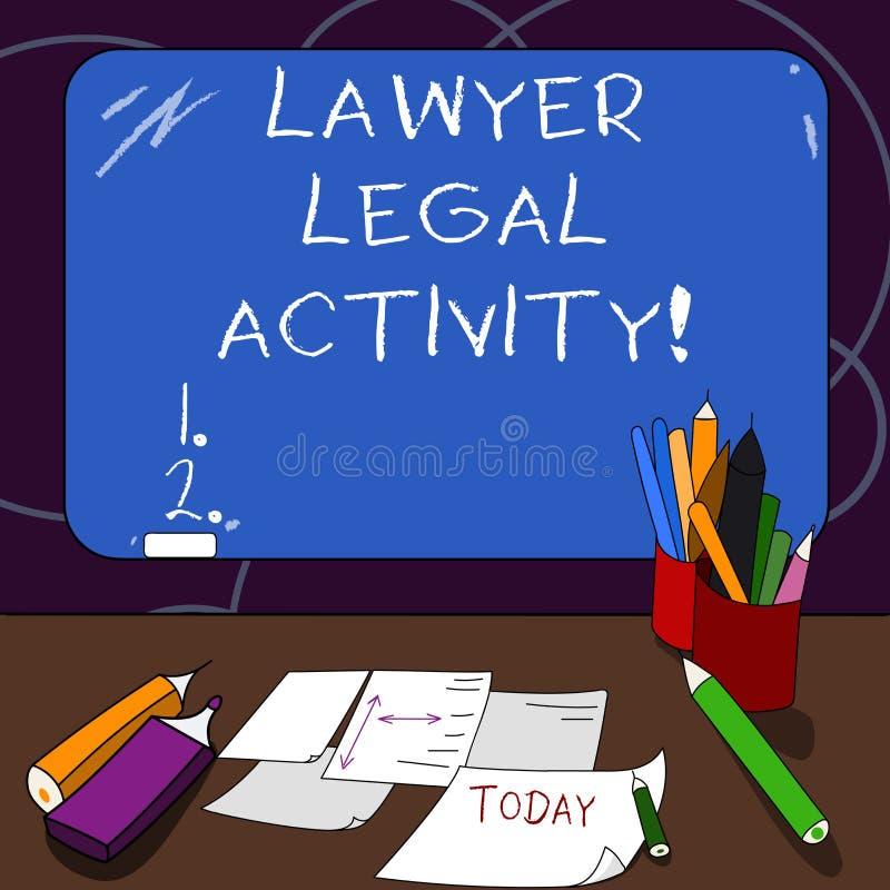 De Advocaat Legal Activity van de handschrifttekst De conceptenbetekenis bereidt gevallen voor en geeft advies op wettelijke onde vector illustratie