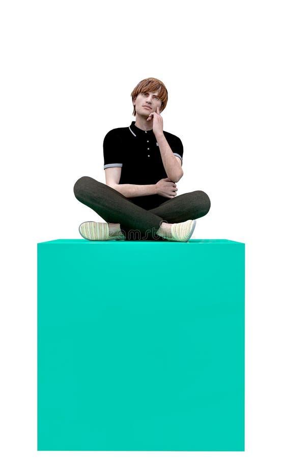 De afbeelding van denkt buiten het doosconcept stock afbeelding