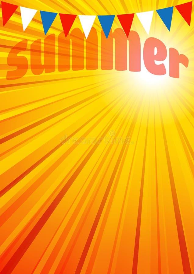 De Affiche de zomer van de Achtergrondpamfletvlieger royalty-vrije illustratie