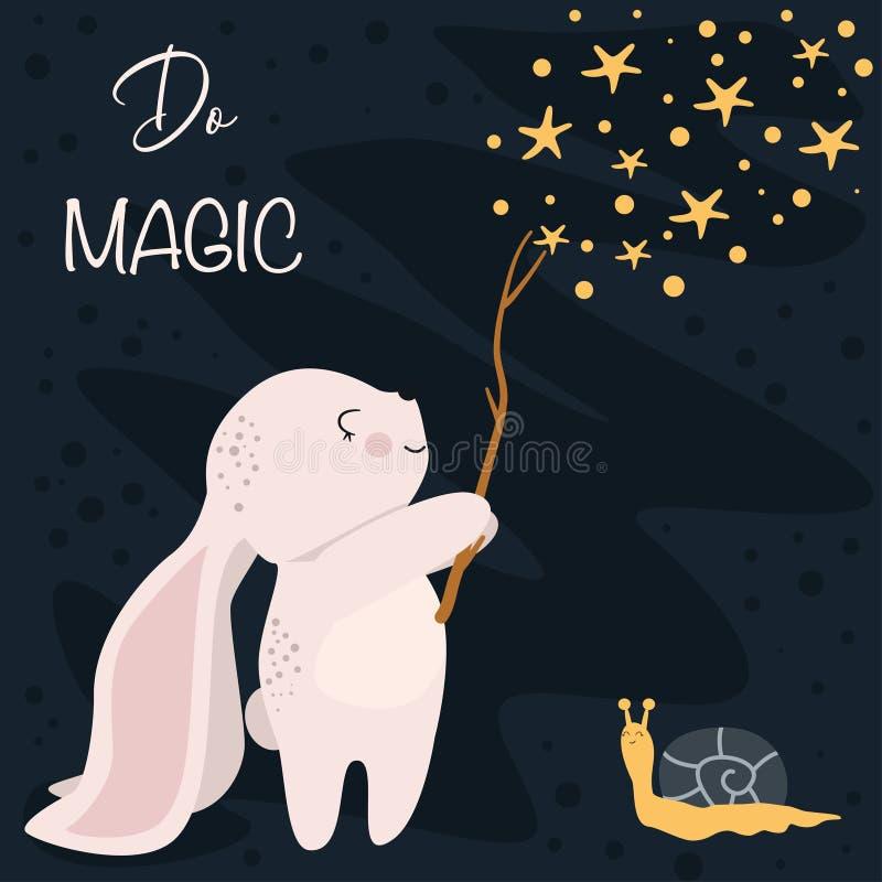 De affiche doet magisch met konijntje - vectorillustratie, eps stock illustratie