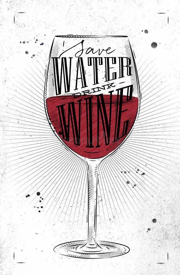 De affiche drinkt wijn vector illustratie