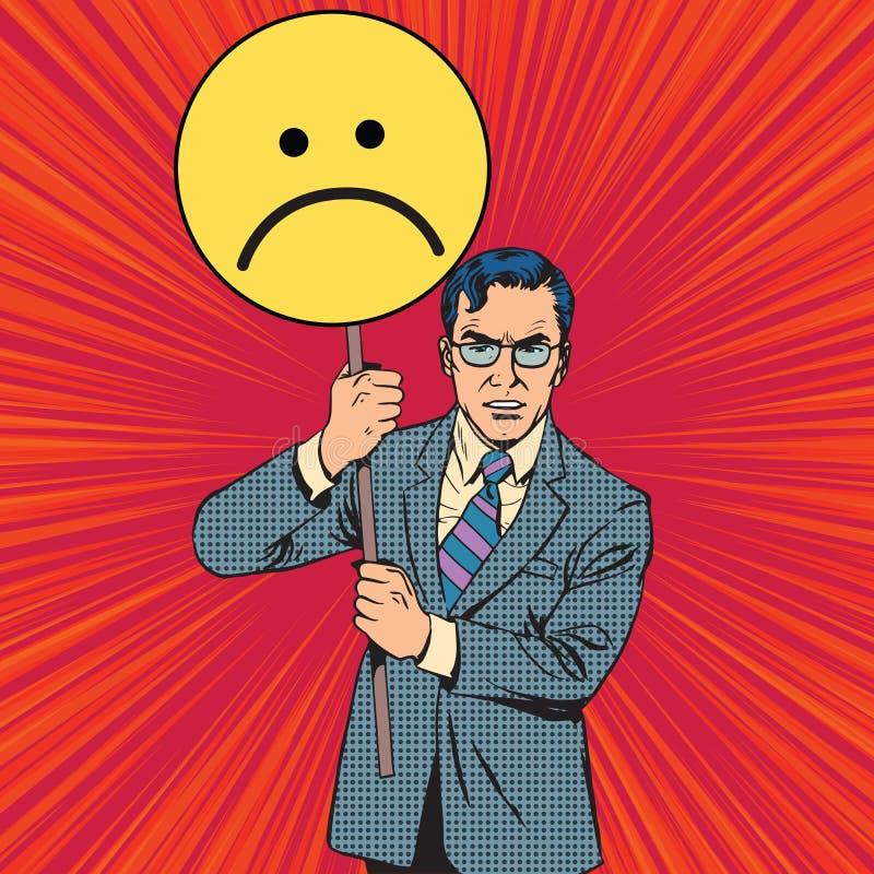 De affiche droevige emoticon van de beleidsprotesteerder stock illustratie