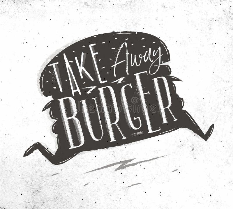 De affiche haalt hamburger weg vector illustratie