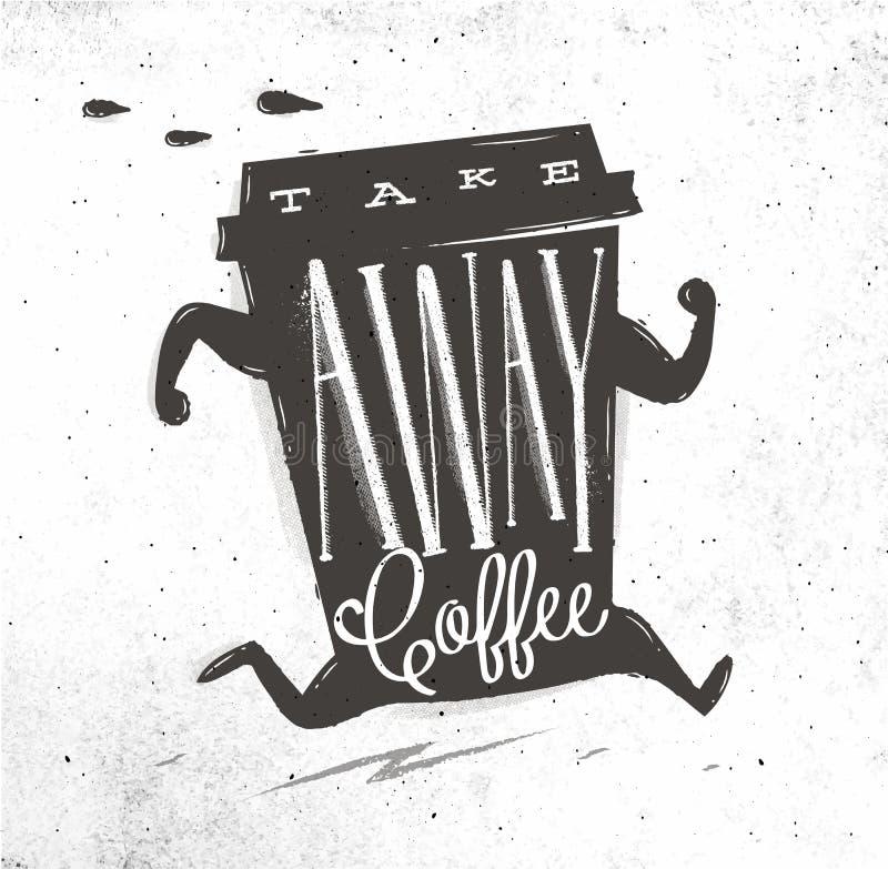 De affiche haalt koffie weg stock illustratie