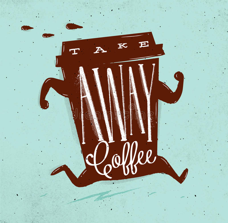 De affiche haalt koffieturkoois weg stock illustratie