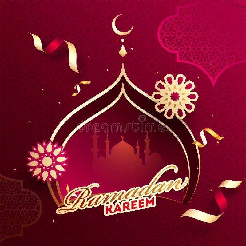 De affiche of het malplaatje het ontwerp van Ramadan Kareem met document sneed moskeevorm op rode Islamitische patroonachtergrond vector illustratie
