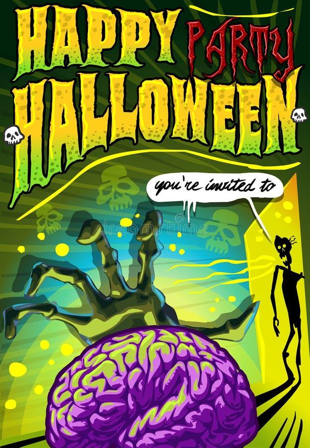 De affiche nodigt voor Halloween-Partij uit stock illustratie