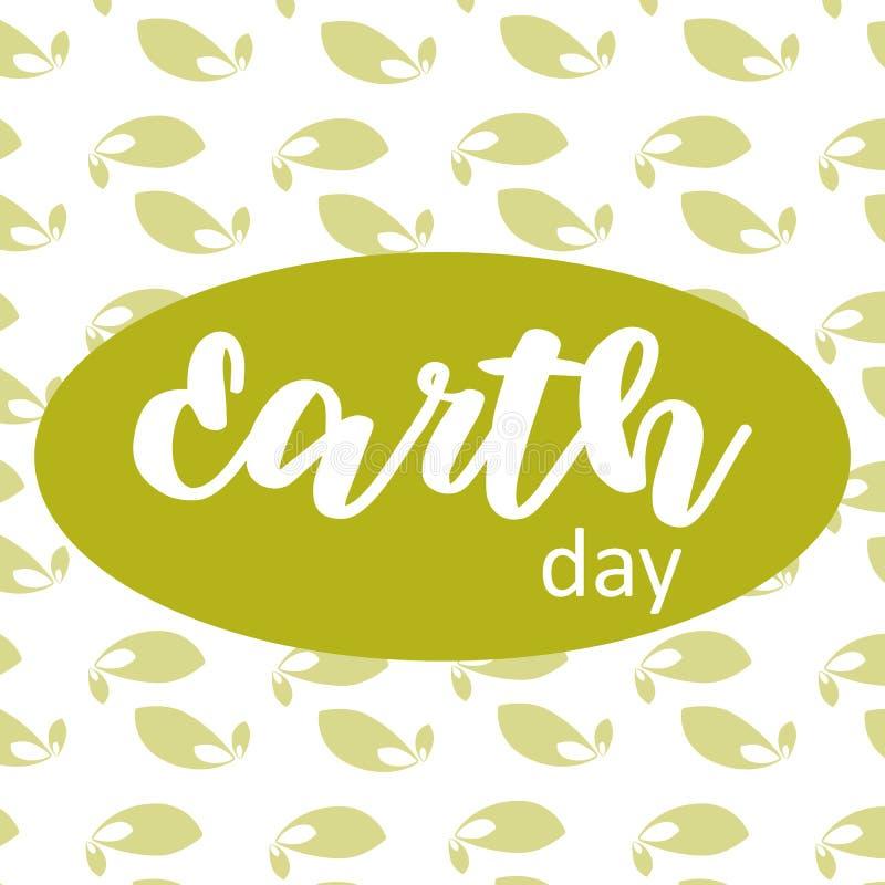 De affiche van de aardedag op groen doorbladert achtergrond royalty-vrije illustratie