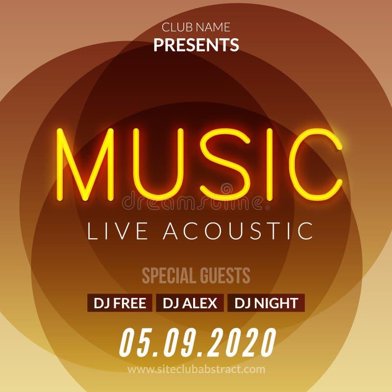 De Affiche van achtergrond neonlive music concert acoustic party Malplaatje met het tekenvlieger van de neontekst stock illustratie