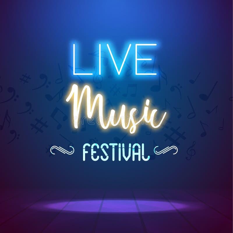 De Affiche van achtergrond neonlive music concert acoustic party Malplaatje met schijnwerper en stadium stock illustratie