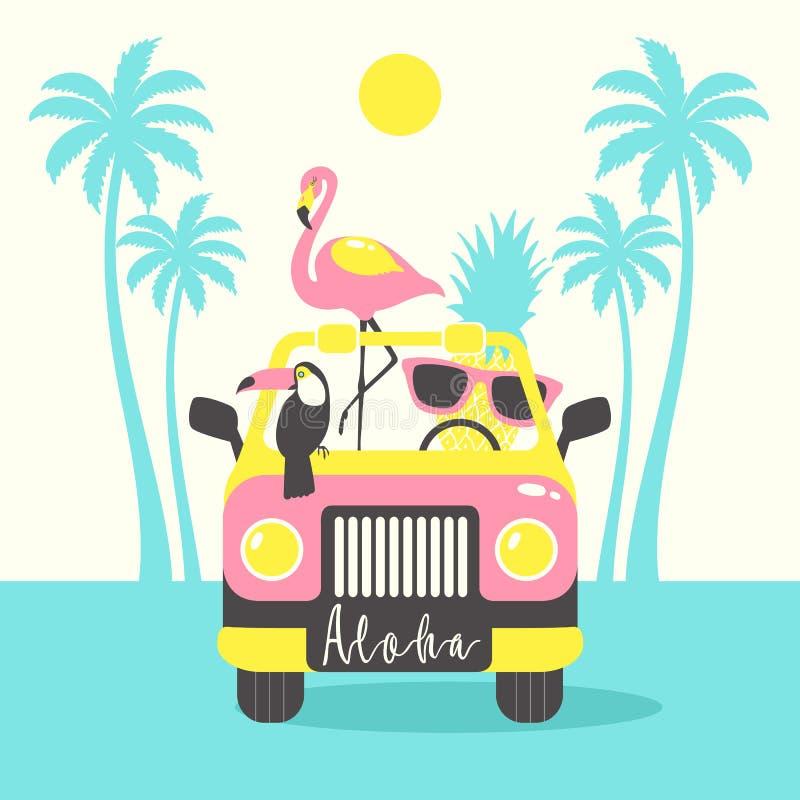 De affiche van de Alohazomer met toekan, flamingo, papegaai, ananas in de auto Kan voor affiche, groetkaart, zakken, t-shirt word stock illustratie