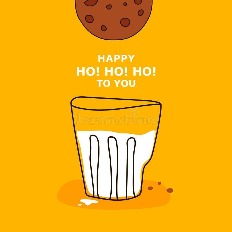 De affiche van de beeldverhaalgroet met glas van witte melk, koekjes en teksten GELUKKIGE HO! HO! HO! AAN U op gele achtergrond vector illustratie