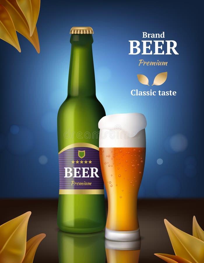 De affiche van de bieralcohol Van drankflessen en glazen bier reclameachtergrond van product van het dranken het en détail vector stock illustratie