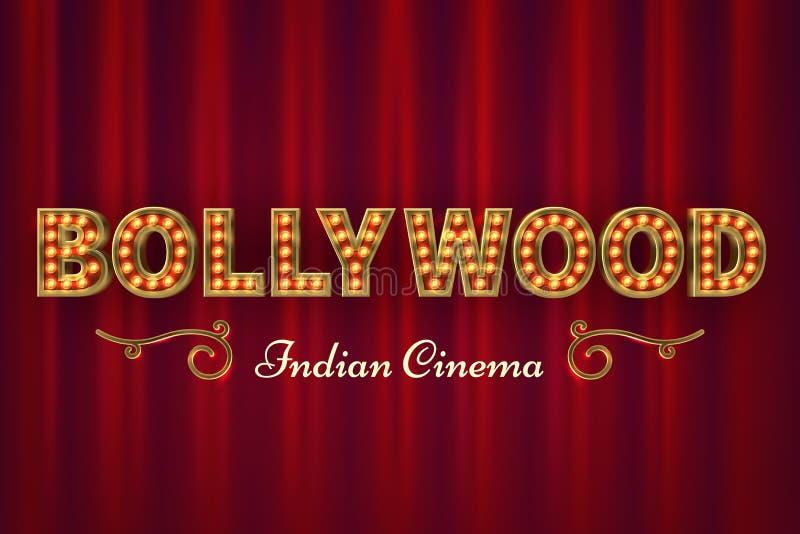 De affiche van de Bollywoodbioskoop Uitstekende Indische klassieke film vectorachtergrond met rode gordijnen royalty-vrije illustratie