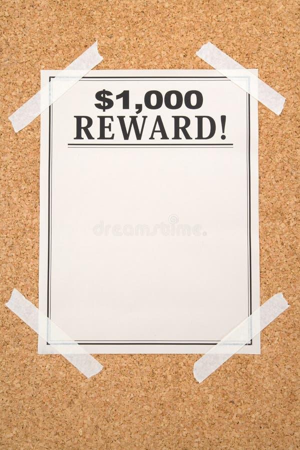De affiche van de beloning stock foto