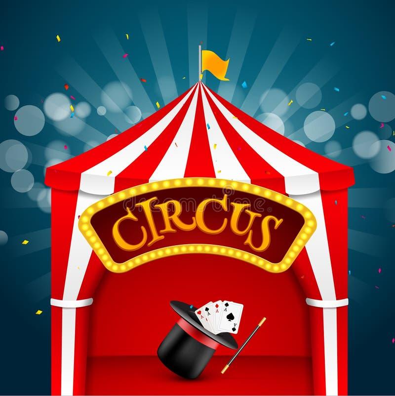 De affiche van de circustent De uitnodigingsgebeurtenis van het circus retro teken De vectorillustratie van pretcarnaval stock illustratie