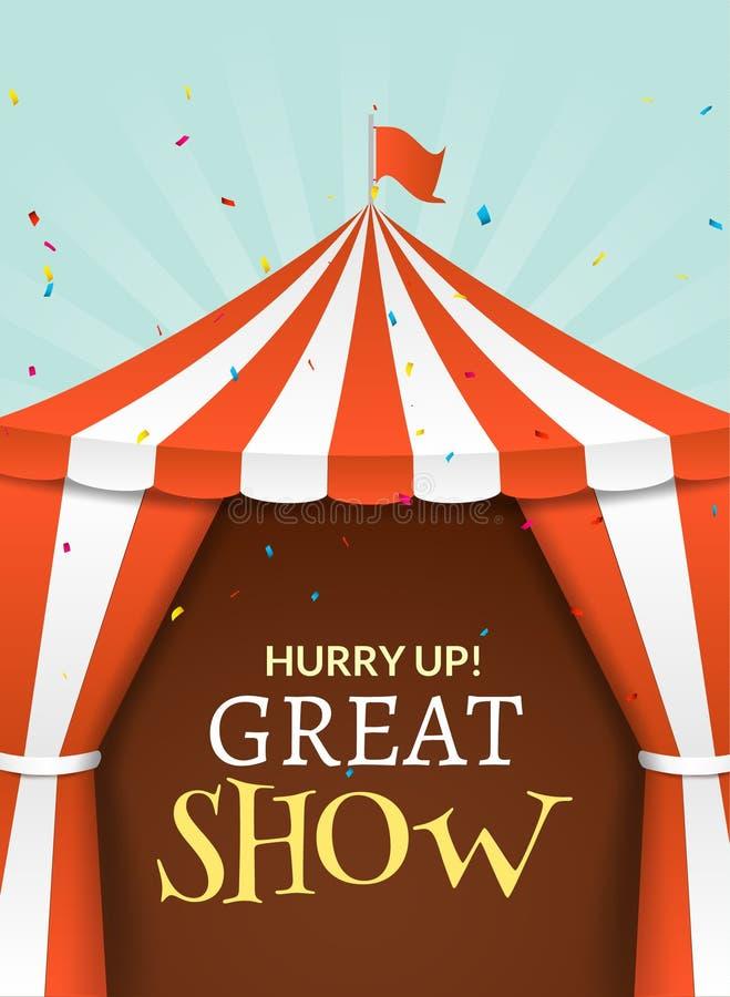 De affiche van de circustent Gebeurtenis van de circus retro uitnodiging De vectorillustratie van pretcarnaval royalty-vrije illustratie