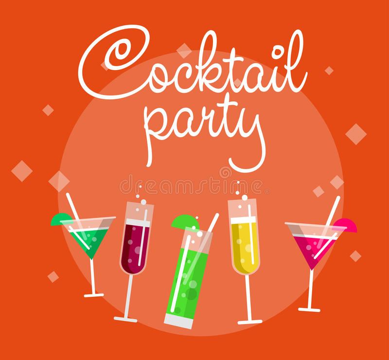 De affiche van de cocktail partyzomer met alcoholdranken in glazen op blauwe vectorillustratie als achtergrond vector illustratie
