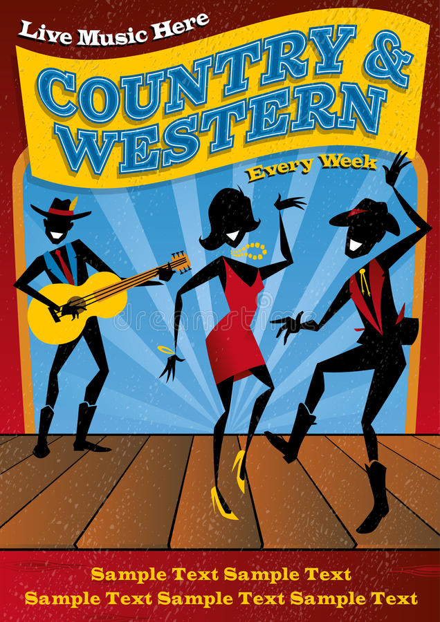 De Affiche van de country muziek stock illustratie