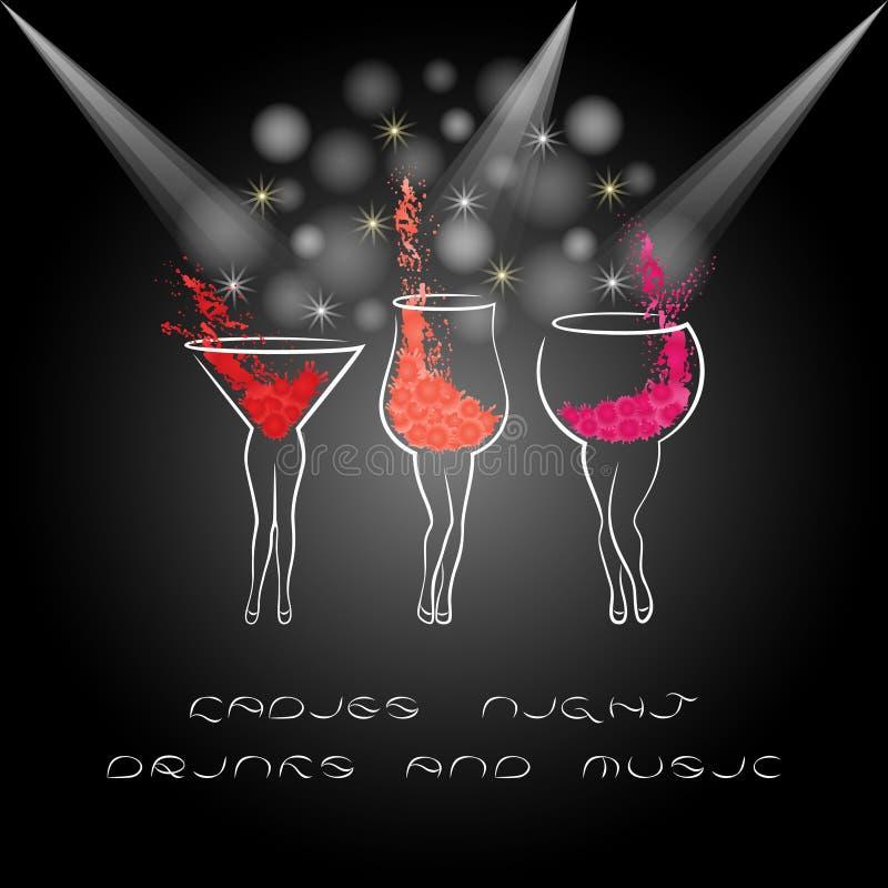 De affiche van de damesnacht met Cocktails Ontwerp voor vrouwenpartij stock illustratie