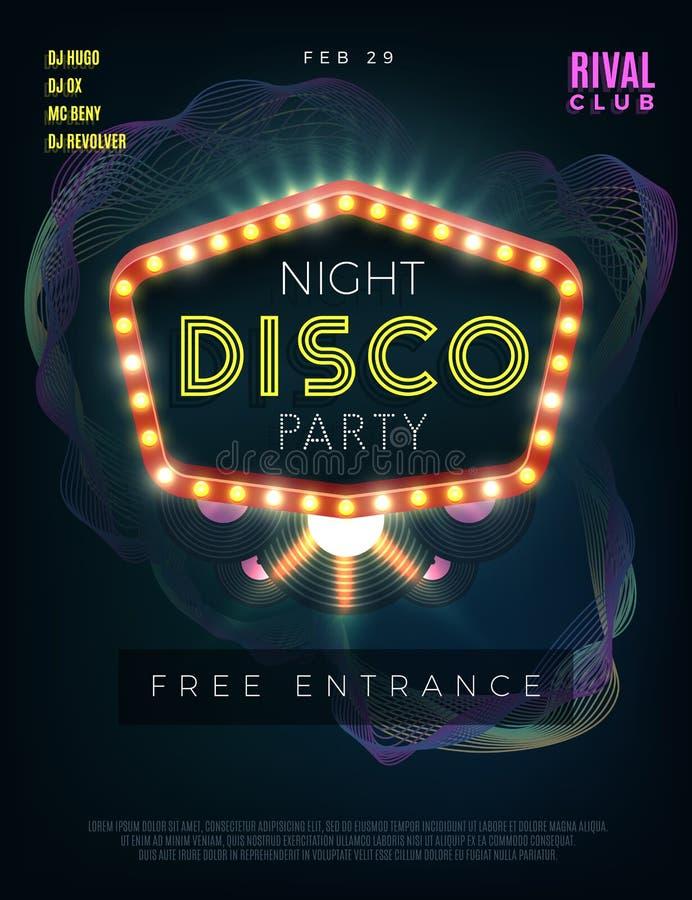 De affiche van de de danspartij van de nachtdisco met gloeiend kader Vector ontwerpmalplaatje royalty-vrije illustratie