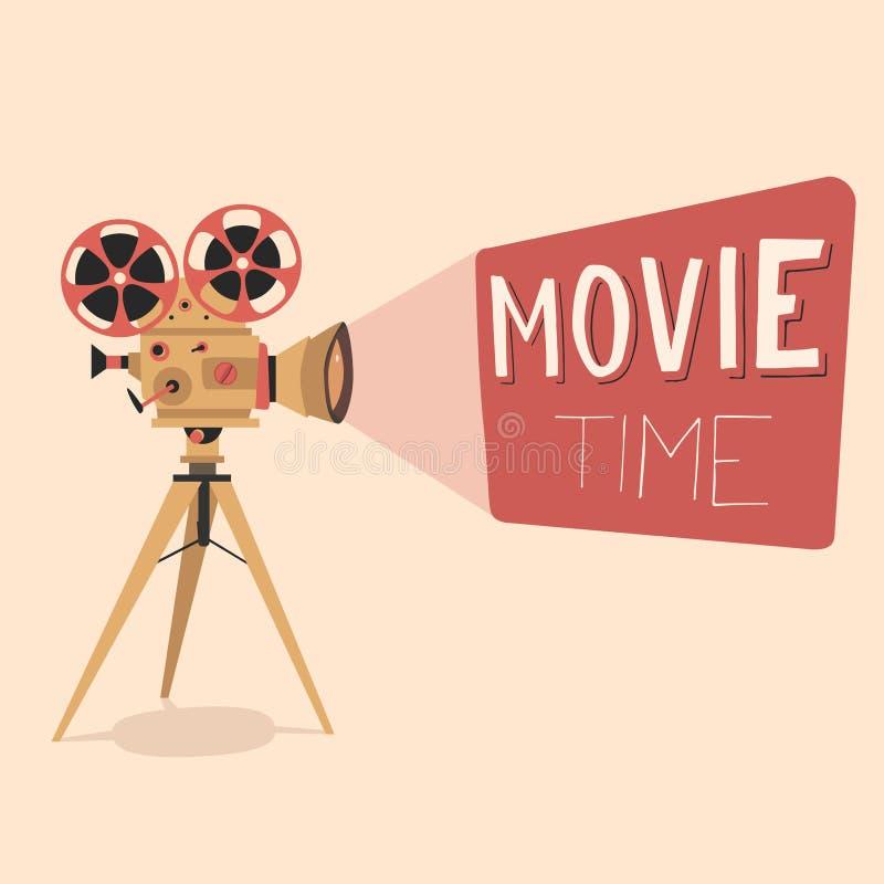 De affiche van de filmtijd De vectorillustratie van het beeldverhaal Bioskoopfilm stock illustratie