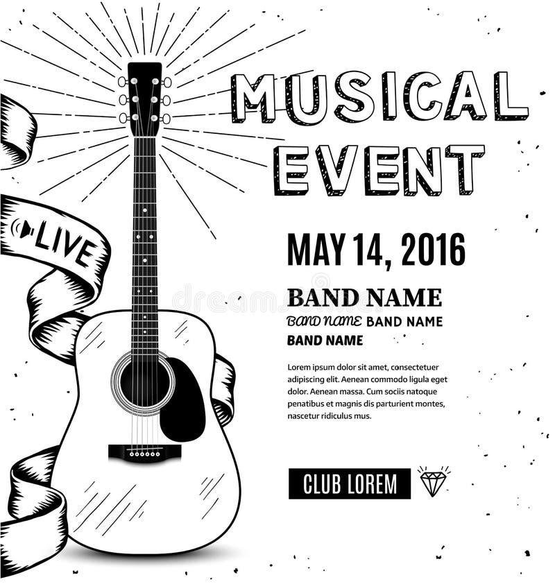 De affiche van de gitaarmuziek Hand getrokken schets Vector illustratie royalty-vrije illustratie