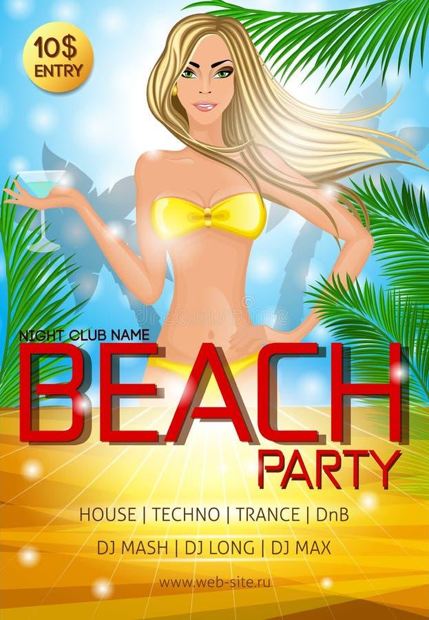 De affiche van de het strandpartij van de nachtclub stock illustratie