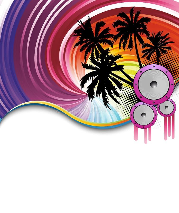 De affiche van de het strandpartij van de regenboog royalty-vrije illustratie