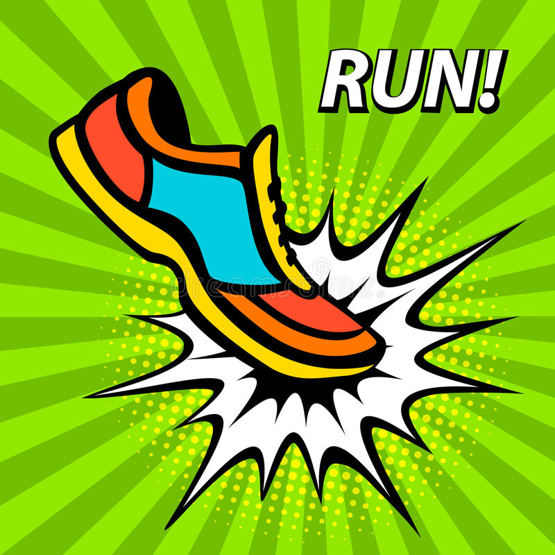 De affiche van de looppasmotivatie in pop-artstijl Fitness sporttennisschoen in beginpositie inzake een zonnestraalachtergrond stock illustratie