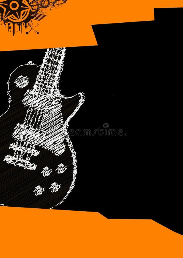 De affiche van de muziek met gitaar royalty-vrije illustratie