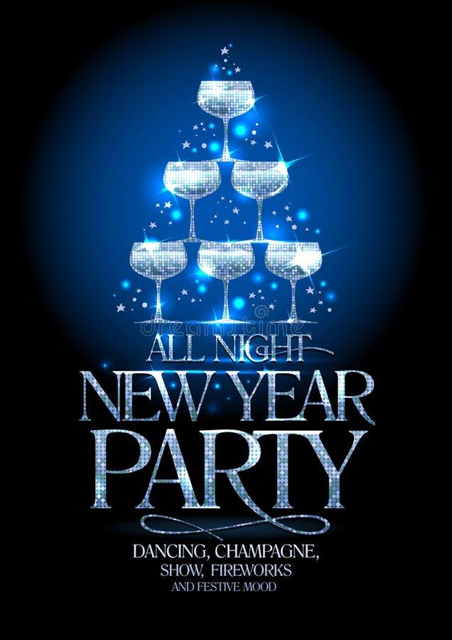De affiche van de nieuwjaarpartij met zilveren stapel champagneglazen, verfraaide fonkelende sterren vector illustratie