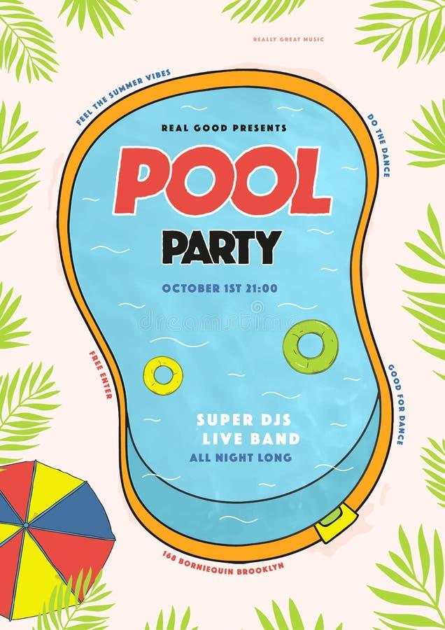 De affiche van de poolpartij De zomergebeurtenis, festival vector kleurrijke Illustratie, aanplakbiljet stock illustratie