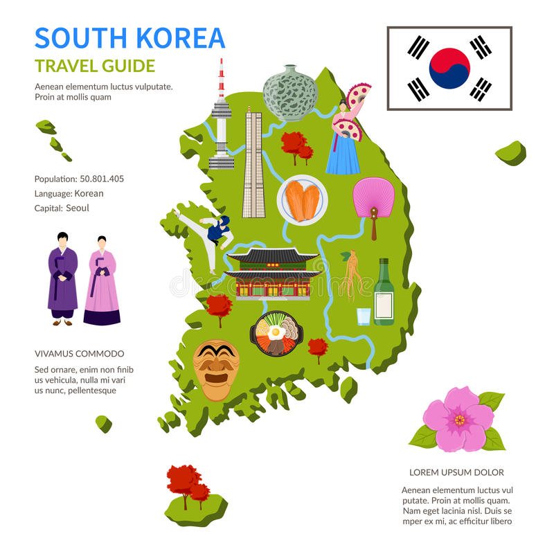 De Affiche van de Reisgidsinfographic van Zuid-Korea stock illustratie