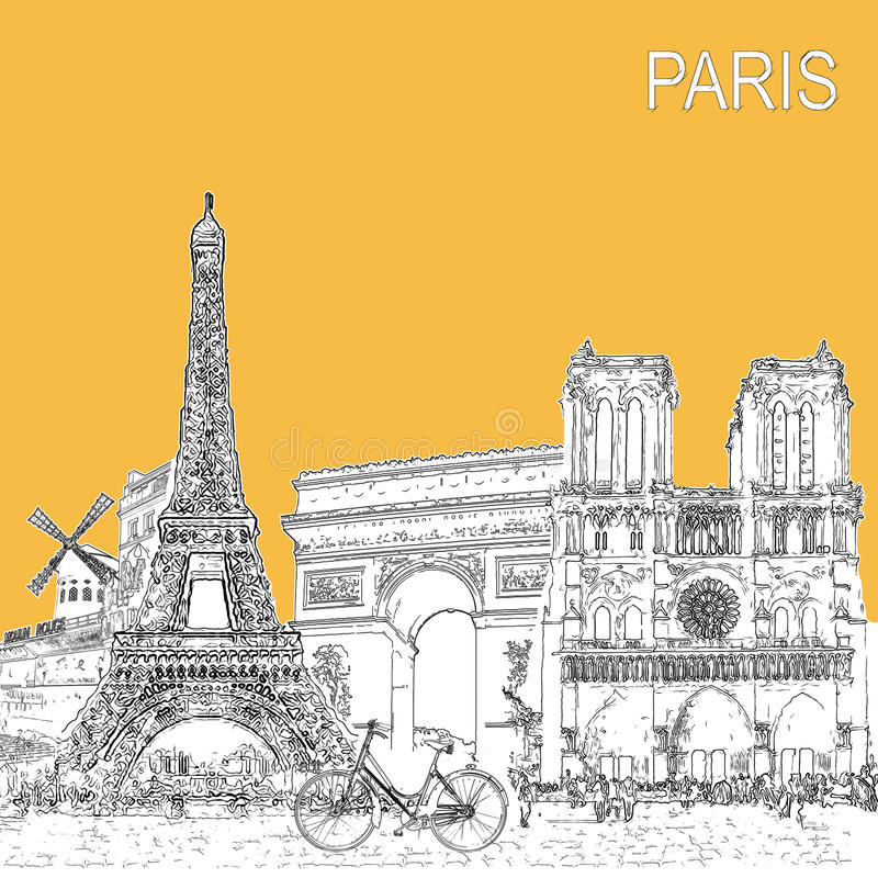De affiche van de schetsstijl met de symbolen en de oriëntatiepunten van Parijs vector illustratie