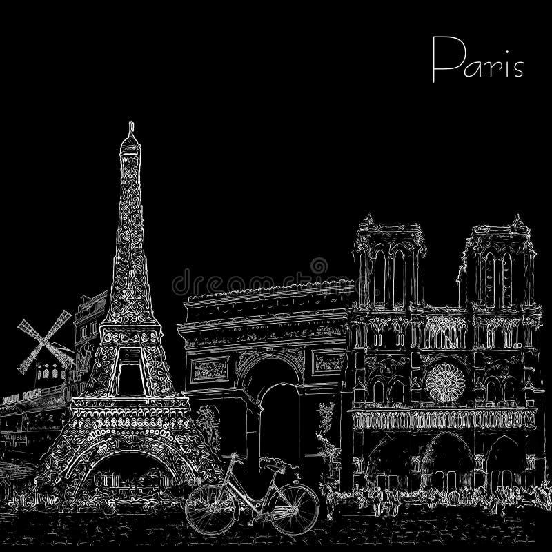 De affiche van de schetsstijl met de symbolen en de oriëntatiepunten van Parijs Rebecca 36 stock illustratie