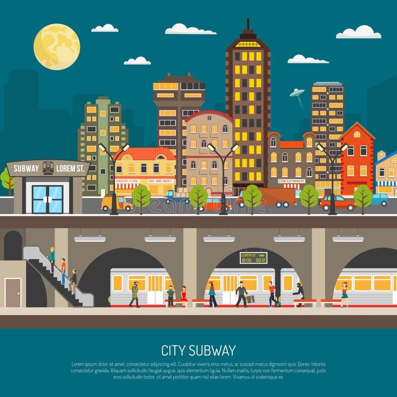 De Affiche van de stadsmetro stock illustratie