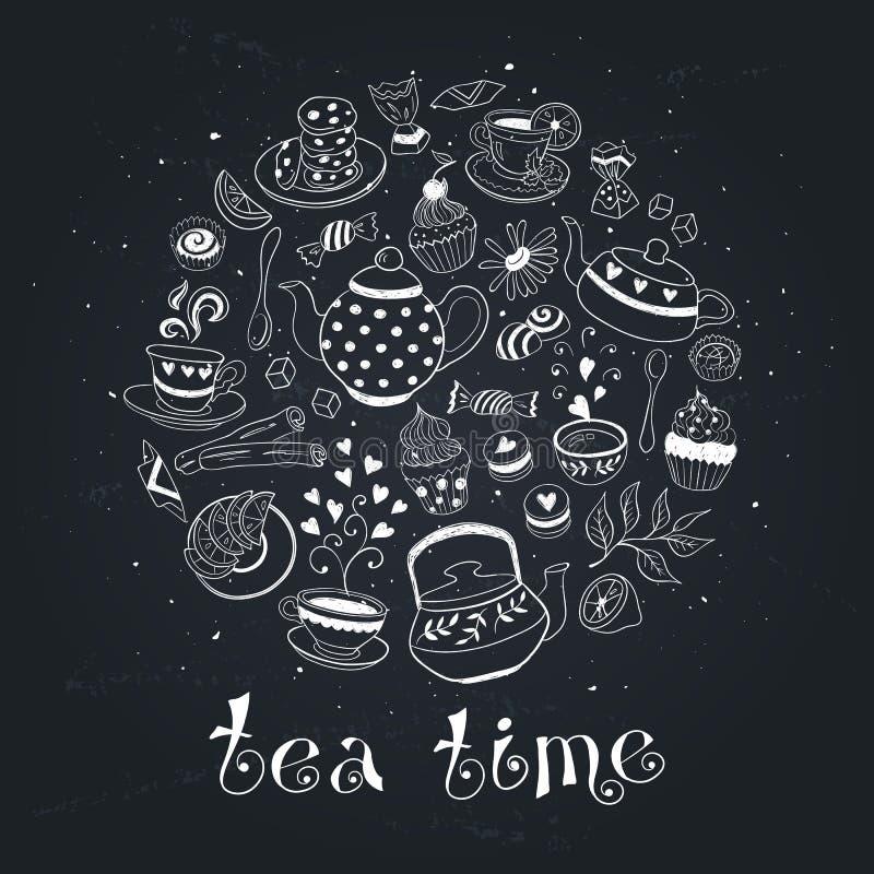 De affiche van de theetijd stock illustratie