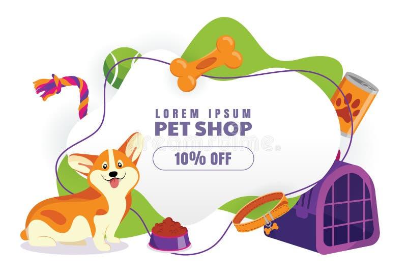 De affiche van de dierenwinkelverkoop of bannerontwerpsjabloon Vector beeldverhaalillustratie Dierlijk voedsel, toebehoren en spe vector illustratie