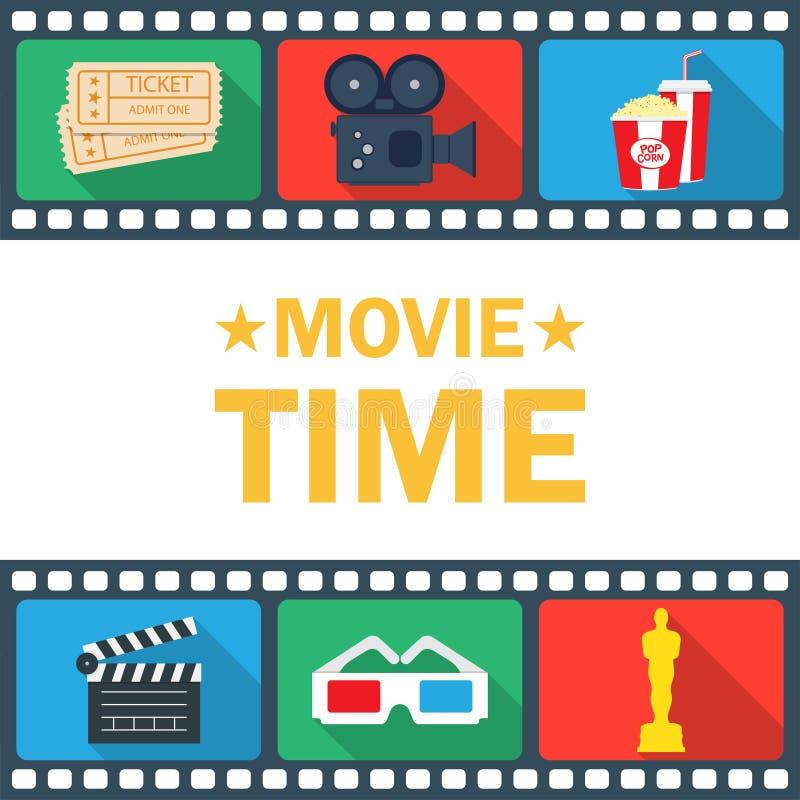 De Affiche van de filmtijd met clapperboard, popcorn, kaartje, en camcorder royalty-vrije illustratie