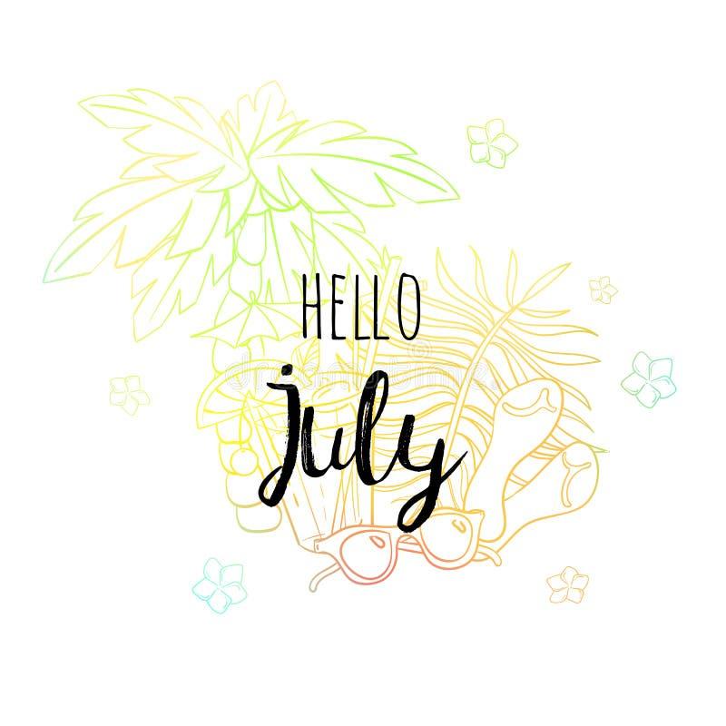 De affiche van Hello Juli met palm, zonglazen, sandals, bloemen en coctail Motievendruk voor kalender, zweefvliegtuig royalty-vrije illustratie