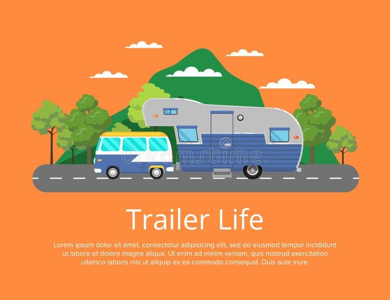 De affiche van het aanhangwagenleven met het kamperen aanhangwagen op weg stock illustratie