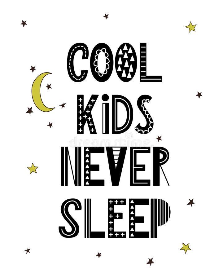 De affiche van het beeldverhaalkinderdagverblijf voor jonge geitjes Skandinavisch het van letters voorzien citaat stock illustratie